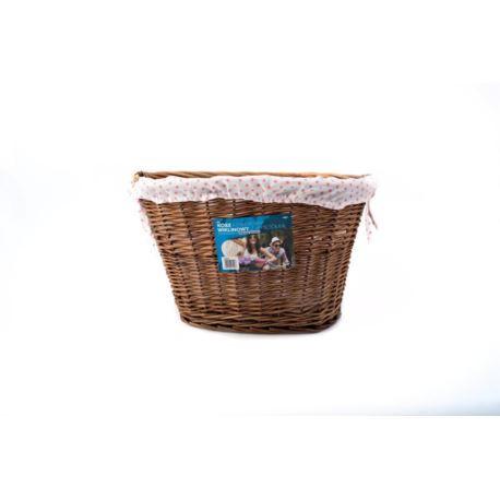 ARK010 Kosz wiklinowy przód na haki z wyściółką  - róż